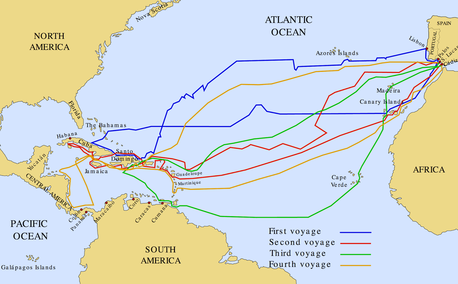 Ponce de Leon's route on four voyages to the New World